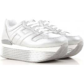 Hogan Wedges Sneakers Schuhe aus silbermetallischem Leder