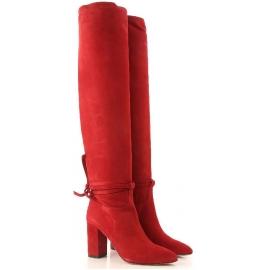 Aquazzura MILANO BOOT 85 Kniehohe Damen rot stiefel mit quadratischem Absatz
