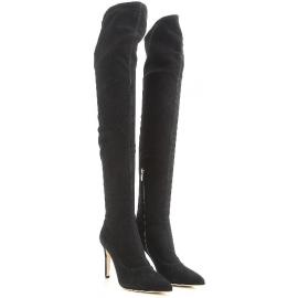 Sergio Rossi Damen kniehohe Stiefel aus schwarzem Wildleder mit Stöckelabsatz