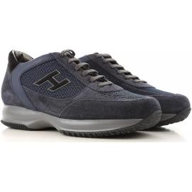 Hogan interactive Herren Sneakers aus blauem Leder und Stoff