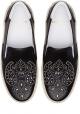 Saint Laurent Schuhe anziehen mit nieten für damen aus schwarzem Kalbsleder