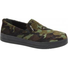 Prada Schuhe anziehen für Frauen aus camouflage Kalbsleder in Pony-Optik