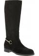 Gucci Frauen abgerundeten Kniehohe Stiefel aus schwarzem Wildleder mit zip