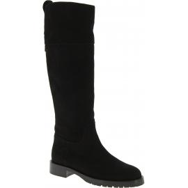 Dolce&Gabbana Frauen abgerundeten Kniehohe Stiefel aus schwarzem Wildleder