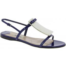 Miu Miu Flache offene Sandalen mit schnalle für Frauen aus blauem lackleder