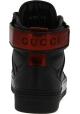 Gucci Hohe Turnschuhe geschnürt für Frauen aus schwarzem und rotem leder