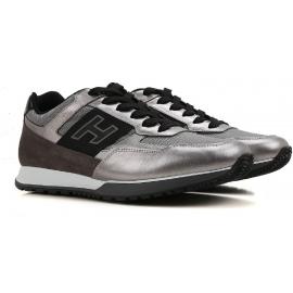 Hogan Herren Niedrige Sneakers aus silber laminiertem Kalbsleder