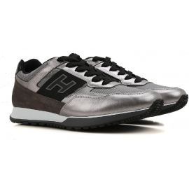 Hogan Herren Sneakers aus silberfarbenem laminiertem Leder
