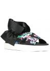 MSGM Hausschuhe Sandalen in schwarzem Leder und Stoff Blumenmuster