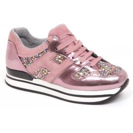 Hogan Damen-Sneaker aus pinkfarbenem Lackleder und Glitzer