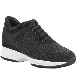 Hogan Interactive Damen Sneakers aus glitzerndem schwarzem Leder