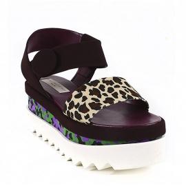 Stella McCartney Keile Sandalen mit Gepard Riemen aus braunem wildleder
