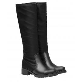 Prada Stiefel Knie hoch Biker in schwarzem Leder und Stoff