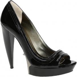 Lanvin Peep Toe Schuhe aus schwarzem Lackleder