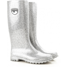 Chiara Ferragni Kniehohe Stiefel aus silbernem Gummi