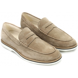 Hogan Club H262 Pennyloafer in Beige Wildleder Leder