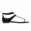Balenciaga Wohnungen Sandalen Milli in schwarzem Wildleder mit Metall-Nieten