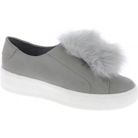 Steve Madden Plateau-Sneakers ohne Schnürung Damen gefälschtes graues Leder