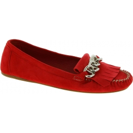 Prada Mokassins Schuhe Mode mit Fransen für Damen aus rotem wildleder