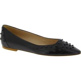 Tod's Damen Ballerinas schuhe fashion mit spitzen Zehen aus schwarzem Leder